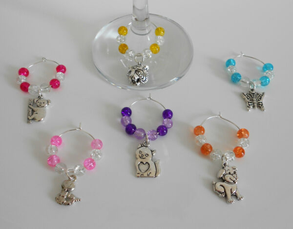 SET OF 6 ANIMAL WINE GLASS CHARMS COLOUR CHOICE TIGER CAT DOG SNAKE BUTTERFLY GBP 5.09