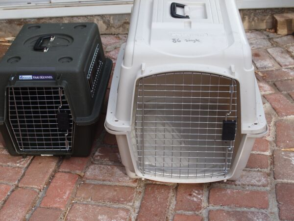 Large Plastic Hard sided Travel Pet Crates Only Used Once $35.00