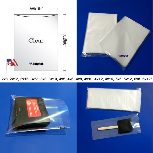 Poly Plastic 25 50 100 200 1000 Bags 2-Mil Clear Flat Open Top plastic bags