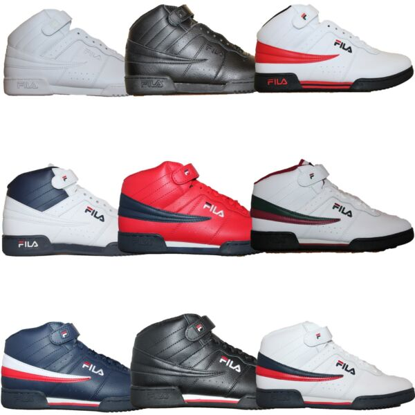 Mens Fila F13 F-13 Classic Mid High Top Basketball Shoes Sneakers Whit