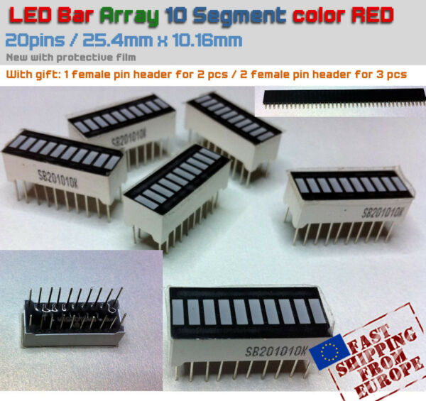LED Bar Graph 10 Segment Array Red - for Arduino projects (Bargraph) NEW + Gifts