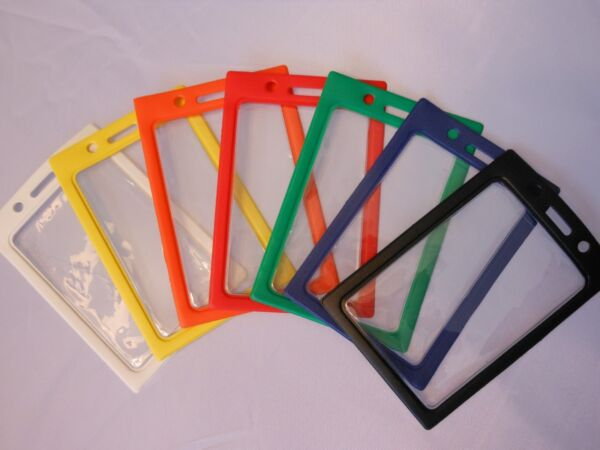 1 Vertical ID Badge Holder Clear Vinyl Window with a Color quot;Framequot; Border $1.59