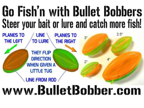 Bullet Bobbers - mini planer boards - floats  bobbers with directional control