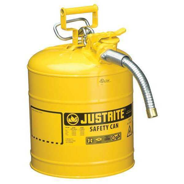 JUSTRITE 7250230 5 gal. Yellow Galvanized Steel Type II Safety Can For Diesel