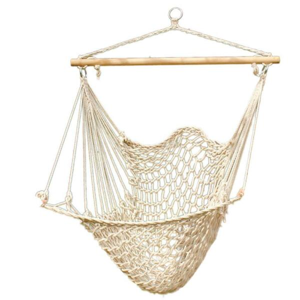 Hammock Cotton Swing Camping Hanging Rope Chair Wooden Beige White Outdoor Patio $19.98