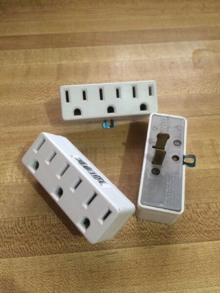 3 NEW Leviton Triple-Tap Outlet grounding electric wall plugs 697-W 15 Amp White