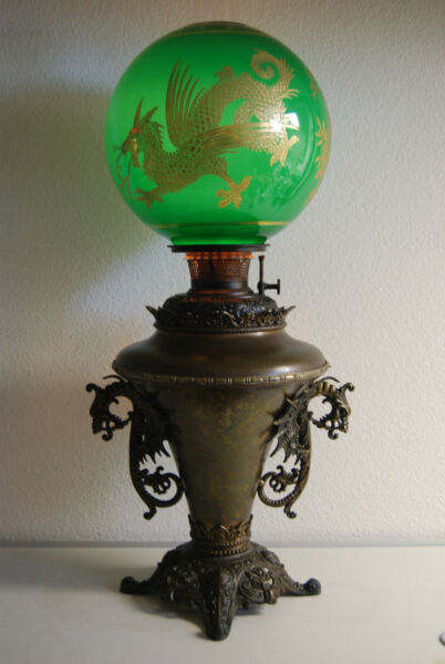 ANTIQUE KEROSENE OIL GWTW B&H CHINESE DRAGON EMERALD GREEN GILDED VICTORIAN LAMP