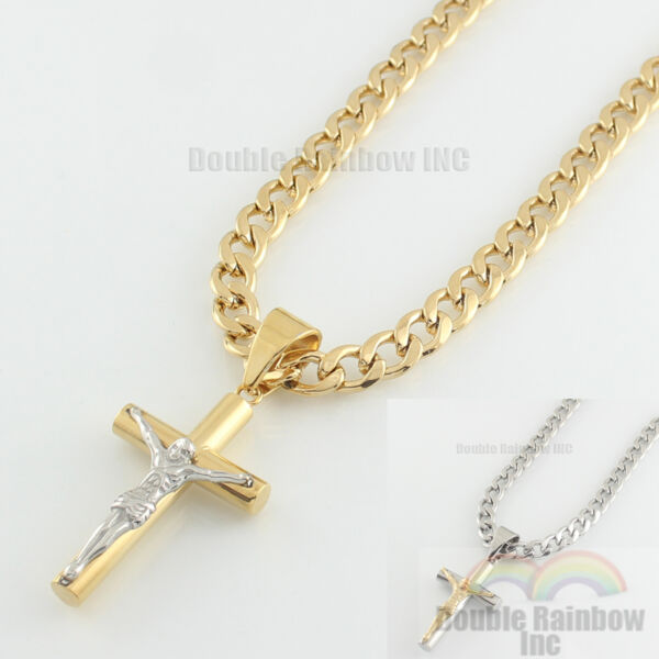 Mens stainless steel Gold Silver cuban jesus cross pendant necklace chain Link 9 $11.99