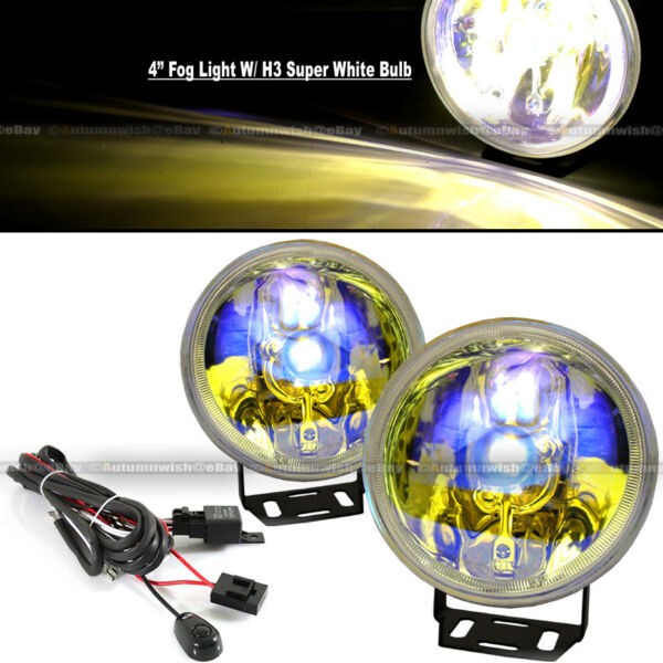 For XL7 4quot; Round Ion Yellow Bumper Driving Fog Light Lamp Kit Complete Set