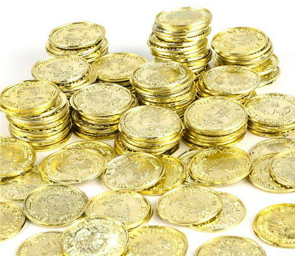 50  Plastic Pirate Gold Play Toy Coins Birthday Party Favors Pinata Money Coin