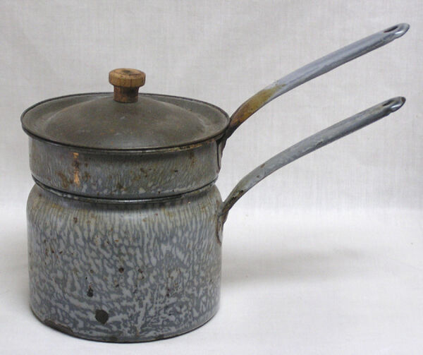 Graniteware Agate Double Boiler Grey Mottled with Tin Lid Wood Finial
