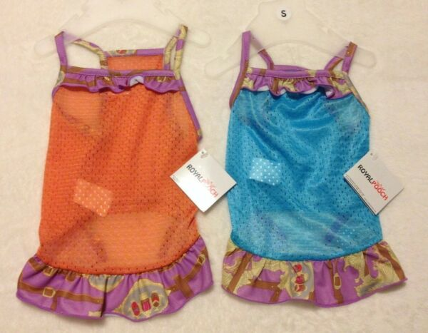 Beautiful Jersey Dog Dress - Orange or Blue - XS S M - Royal Pooch - NWT $7.99
