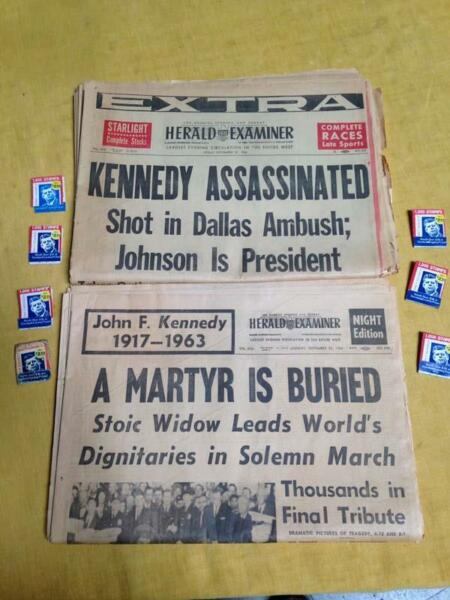 JFK John F. Kennedy Newspaper Matchbook Lot Los Angeles Herald Examiner Ephemera