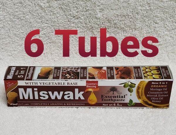 6 Tube MISWAK Toothpaste 5 in 1 Essential 100% Fluoride Free & Vegetable Base