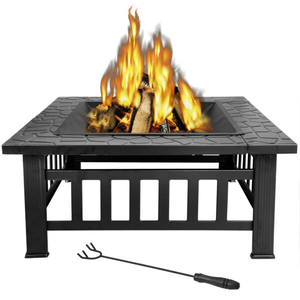 Backyard Fire Pit Outdoor Patio Metal Wood Firepit Fireplace Garden Cover Stove