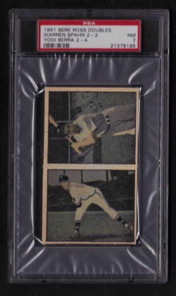 1951 BERK ROSS DOUBLES WARREN SPAHN 2-2 YOGI BERA 2-4 PSA 7 NM