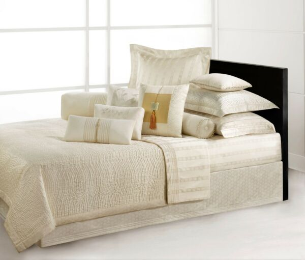 NATORI Double Happiness Silk Filled King or Queen Coverlet - Ivory