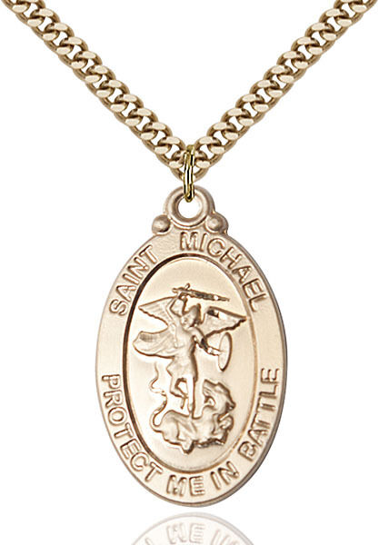 14K Gold Filled St Michael Navy Military Soldier Catholic Medal Necklace $206.00