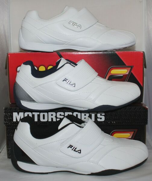 Fila Motorsports MACH T Casual Driving Shoes Sneakers Strap White Navy Black
