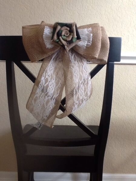 Burlap Camo Flower Pew Bow Chair Lace Venue Wedding Rustic Chic Hunting Cabin