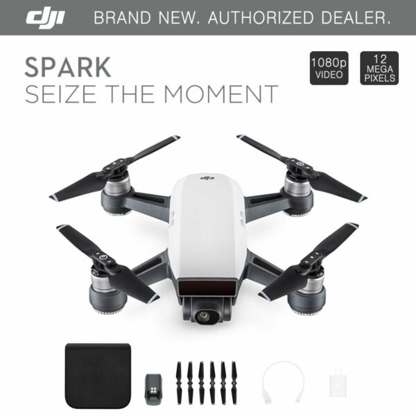 DJI Spark Alpine White Quadcopter Drone - 12MP 1080p Video - CP.PT.000731