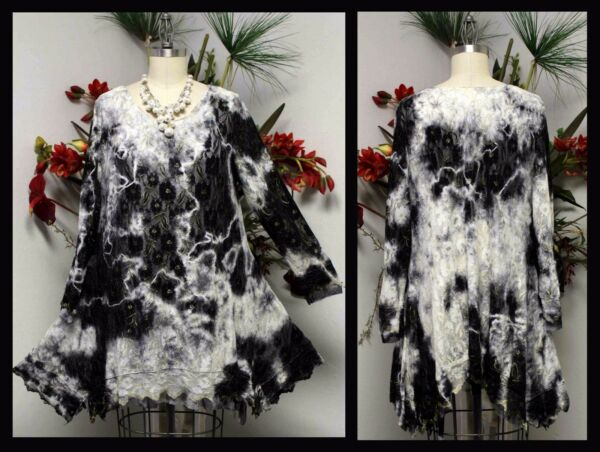Lace and Net Designer Tunic with Tie Dye. Design Today