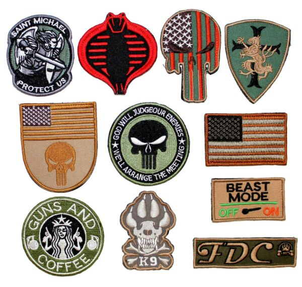PATCH EMBROIDERED MILITARY TACTICAL ARMY FLAG COBRA MICHAEL SKULL DOG K9 $3.99