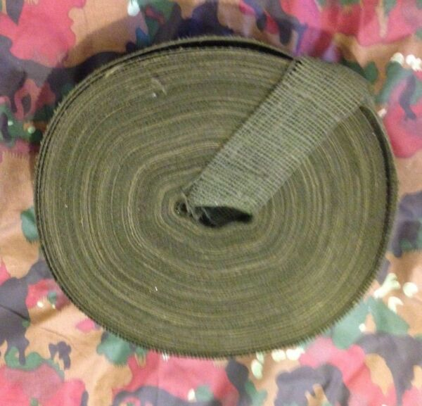 2quot; Wide Army Hunting Designer Camouflage Olive Green Burlap Roll 3 Yardс.