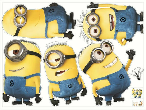 5 Minions Despicable Me 2 Removable Wall Stickers Decal Kids Room Home Decor