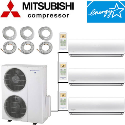 21 - 22 SEER: ENERGY STAR Tri Zone Ductless Mini Split Air Conditioner Heat Pump