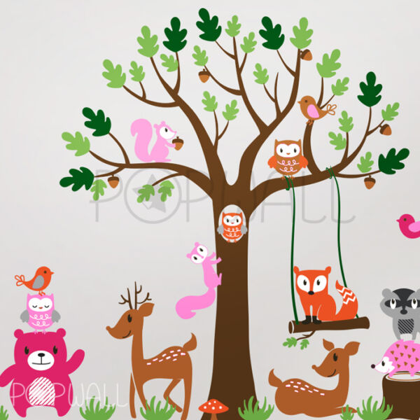 Woodland Tree bear deer owl fox squirrel Children Playroom Nursery Wall Decal