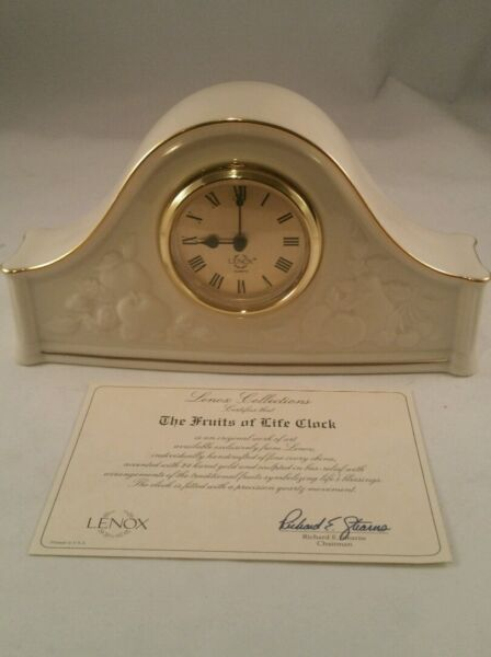Fruits Of Life Mantel Clock By Lenox With COA