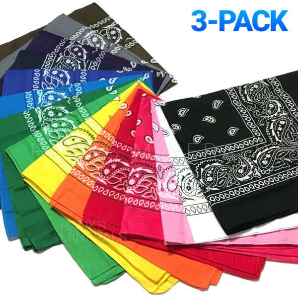 3 Pack Bandana 100% Cotton Paisley Print Double Sided Scarf Head Neck Face Mask