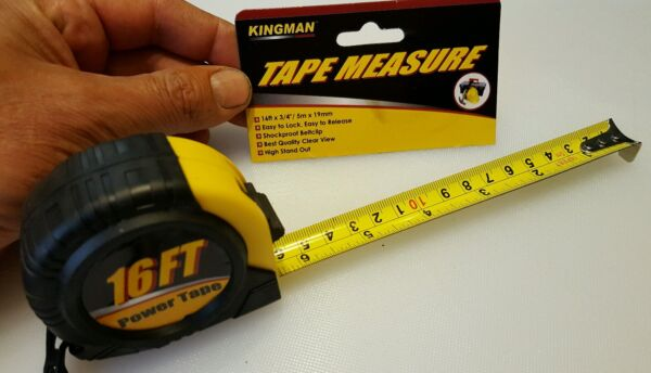 Measuring tape 16 ft x 3/4 kingman inches and metric combo