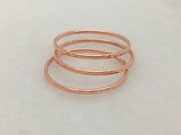 Set of 3 Solid Copper Dainty Stacking Rings US 2 3 3 4 5 6 7 8 9 10 Petite Rings