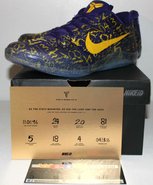 Nike Air Kobe 11 XI Black Mamba Days FTB Purple Yellow Sneakers Mens Size 13 New