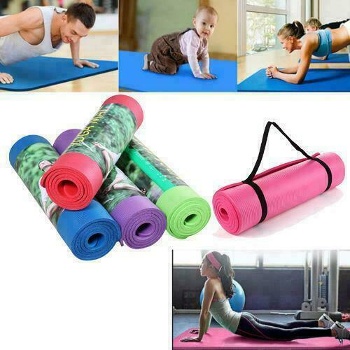 Extra Thick Non-slip Yoga Mat Pad Exercise Fitness Pilates w Strap 72
