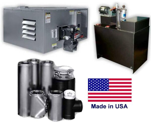 Waste Oil Heater - 200000 BTU - 80 Gallon Tank- Wall Chimney Kit - 5000 sq ft