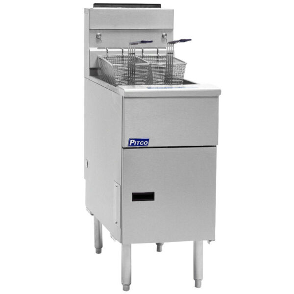 Pitco SG14R-SS Solstice Gas Floor Model Stainless Steel 40-50 lb. Capacity