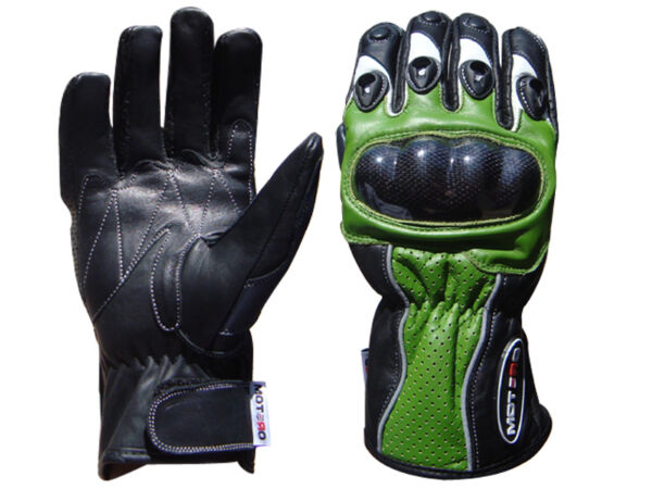 Motorcycle Motorbike Leather Gloves Carbon hard Knuckle KAWASAKI GREEN GBP 17.99