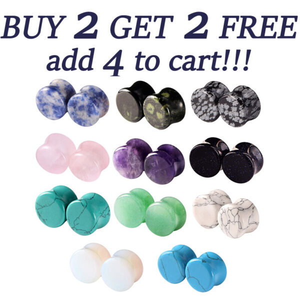 PAIR Organic Natural Stone Ear Gauges Ear Plugs Double Flared Piercing 2g-58