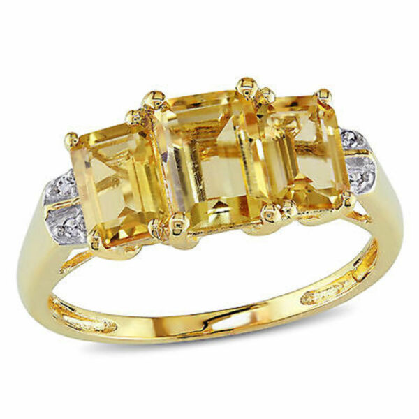 10k Yellow Gold Emerald-cut Citrine Diamond Three-Stone Ring