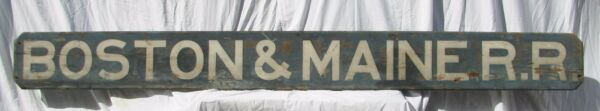 Antique Painted Wooden Boston & Maine Railroad Sign Shipping Available