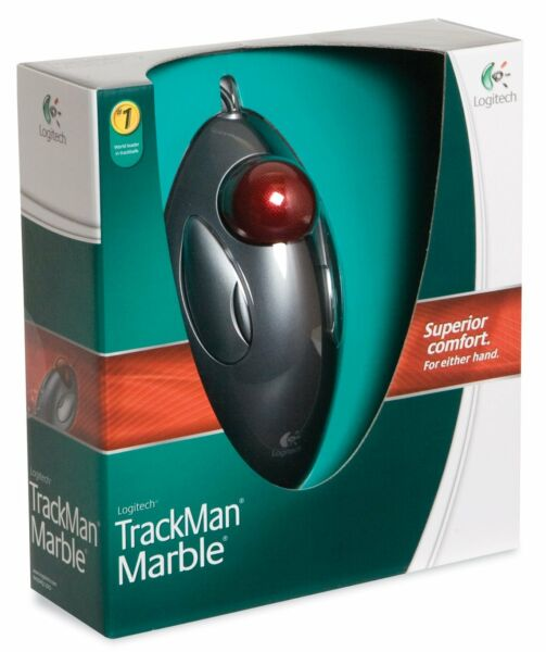 Logitech Trackman Trackball Computer Tablet PC Marble Mouse Scroll Black Red
