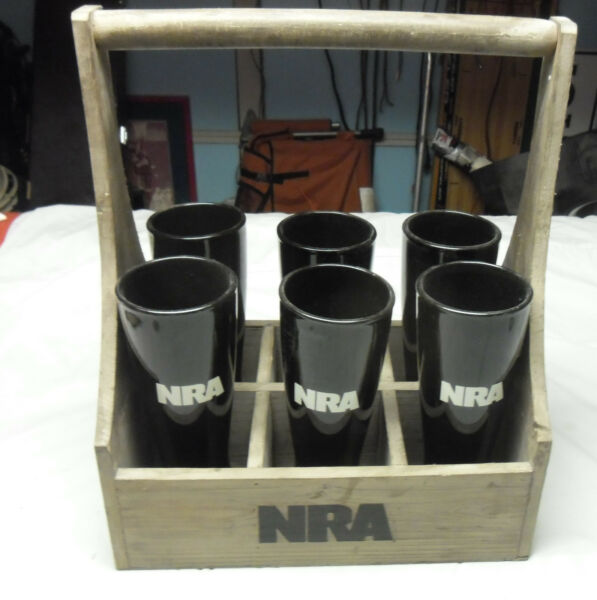 6 NRA Black 18oz Ceramic Bar Beer Glasses in Wooden NRA Handled Crate Very Rare