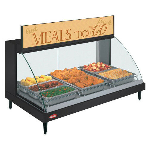 Hatco GRCD-3P Countertop Heated Display with Curved Glass and 3 Pan Single Shelf