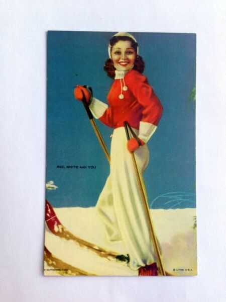 Vintage Pin Up Girl Picture Mutoscope By Billy DeVorss Red White and You Skier A