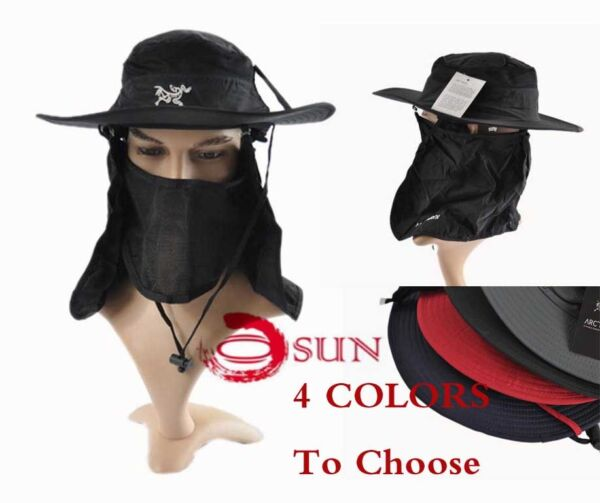 Unisex Sun Protection Camping Quick Dry Cap Fishing Wood Hat Fly Net 4 Colors