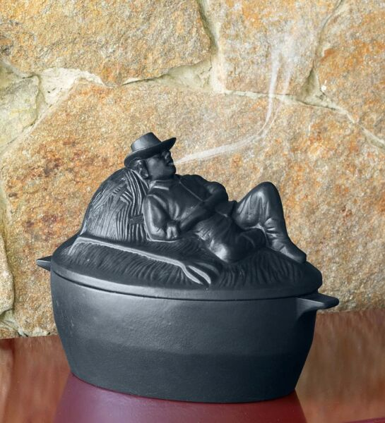 Cast Iron Wood Stove Steamer Kettle  Humidifier with Sleeping Man in Black