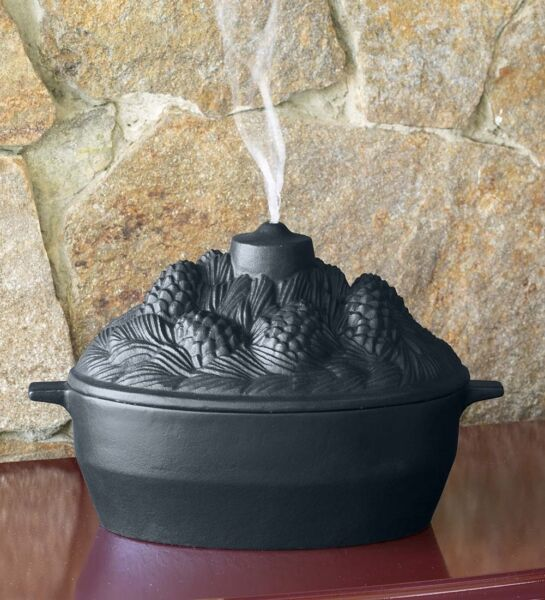Cast Iron Pine Cone Candle Design Wood Stove Steamer Kettle  Humidifier Black